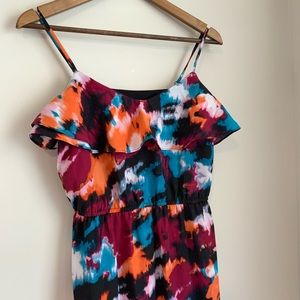 LOFT Abstract Watercolor Ruffle Chiffon Maxi Dress